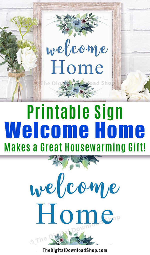 "Welcome Home Printable- Pretty printable ""Welcome Home"" printable wall art. This lovely floral typography quote would make a great addition to any room. It also makes a great housewarming gift! 