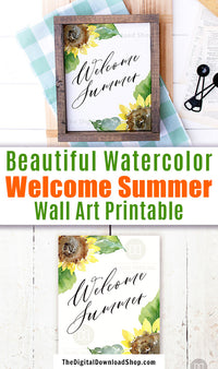 Gorgeous Welcome Summer wall art printable with beautiful watercolor sunflowers. This lovely summer decor art print would be the perfect way to brighten up any room of your home!