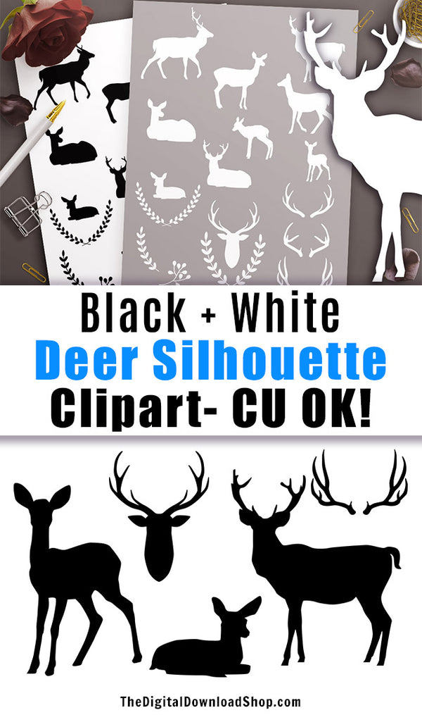 Black + White Deer Silhouette Clipart- 34 deer clipart images for personal and commercial use! These would be great on DIY Christmas cards or homemade holiday gifts! | animals, graphic design, silhouettes, CU OK, #deer #clipart #DigitalDownloadShop