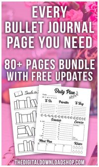 Build the bullet journal of your dreams with the Whole Shop Bullet Journal Bundle from the Digital Download Shop! With more than 80 printable pages and free updates for life, every bujo page you need is here! | mood tracker, habit tracker, how to start a bullet journal, #bulletJournal #bujo #DigitalDownloadShop