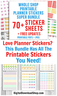 All the printable planner sticker products in the Digital Download Shop- with free updates! Trackers, decorative elements, functional stickers, and more are included in this huge bundle! | ECLP stickers, Life Planner stickers, Happy Planner stickers, bullet journal stickers, #printableStickers #plannerStickers #DigitalDownloadShop
