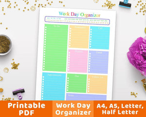 Work Day Organizer Printable - The Digital Download Shop