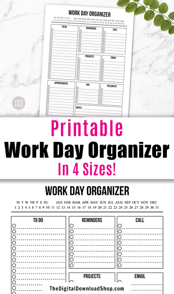 Work Day Planner Printable- Work day organizer productivity planner printable with a minimalist black and white theme!