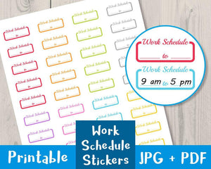 Work Schedule Printable Planner Stickers - The Digital Download Shop