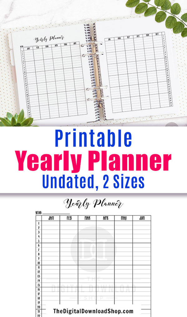 Yearly Planner Printable- Vertical