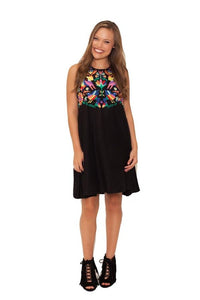Sleeveless Dress w/ Multi Color Embroidery