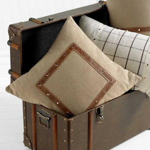 Square Taupe Pillow with Gold Studs