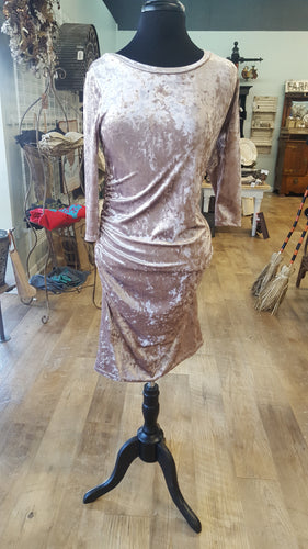 Velvet Round Neck Ruched Dress-champagne
