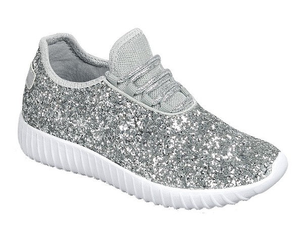 Kids Silver Glitter Shoes