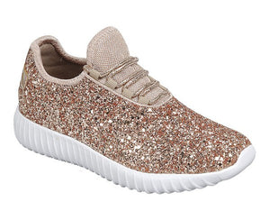 Kids Rose Gold Glitter Shoes