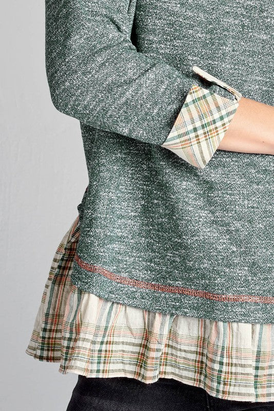 Two-Tone Pullover Top with Plaid Ruffles