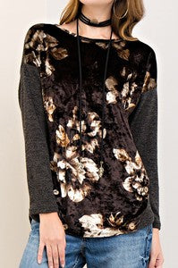 FLORAL VELVET HOODED TOP