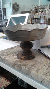 Scalloped Galvanized Metal and Wood Stand