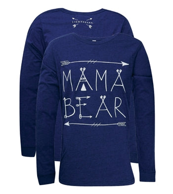 MAMA BEAR TEE FRONT PRINT ON LS