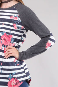 Floral Top with Patch Sleeves