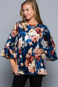 Floral Velvet Top Bell Sleeve Top Blouse-Navy