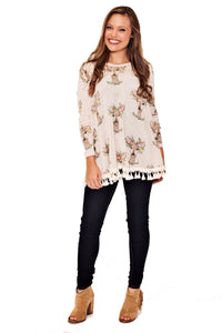 FLORAL DOE TOP WITH TULIP BACK & TASSEL TRIM DETAIL