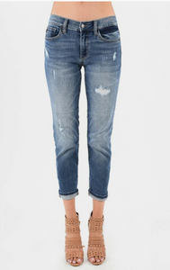 Boyfriend Fit Distressed Jeans