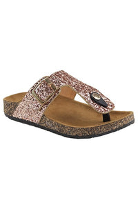 Rose gold t strap sandal