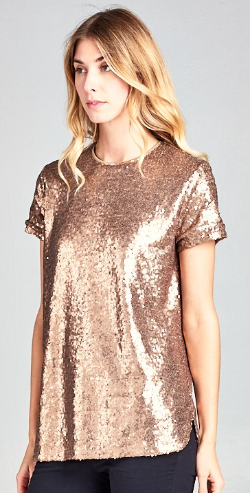 Short Sleeve Solid Sequin Top