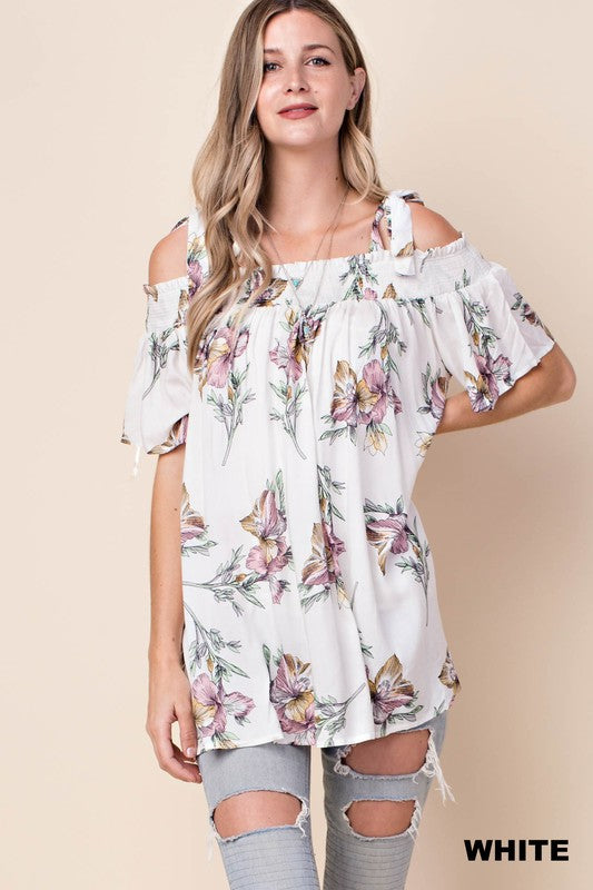 Tied knot cold shoulder top