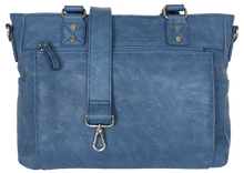 Audrey-Lu Vegan Faux Leather Camera Bag in Stone Washed Blue