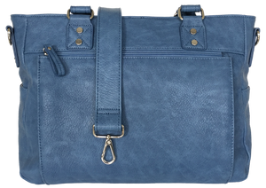 Audrey-Lu Vegan Faux Leather Camera Bag in Stone Washed Blue  XMAS SALE 50%OFF