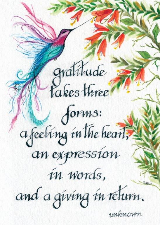 Gratitude Takes Three Forms