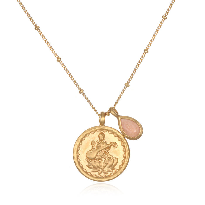 Gold Lakshmi with Peach Moonstone Necklace