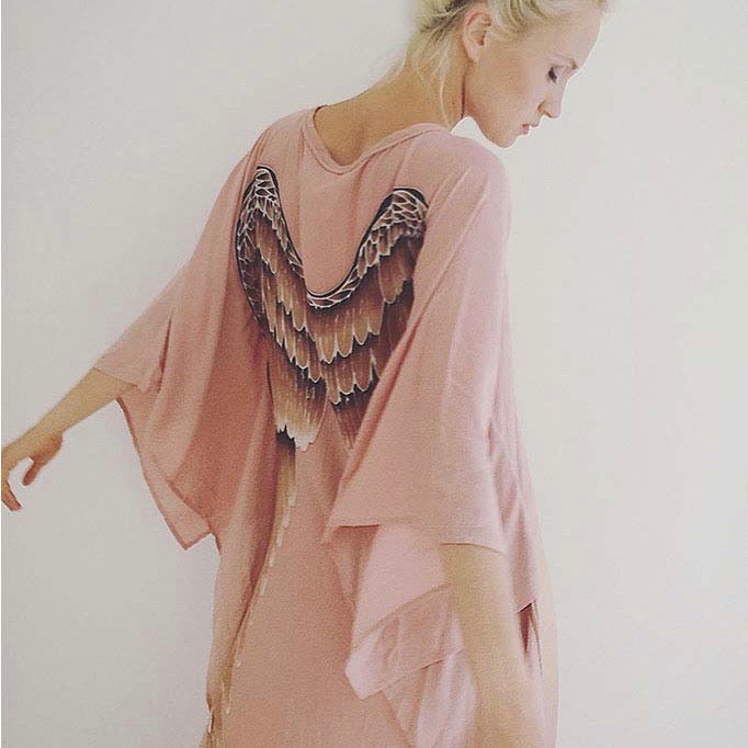 Short Long Angel Wing Kaftan - Musk with Caramel Wings