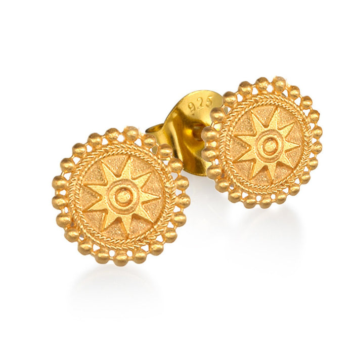 Gold Mandala Stud Earrings