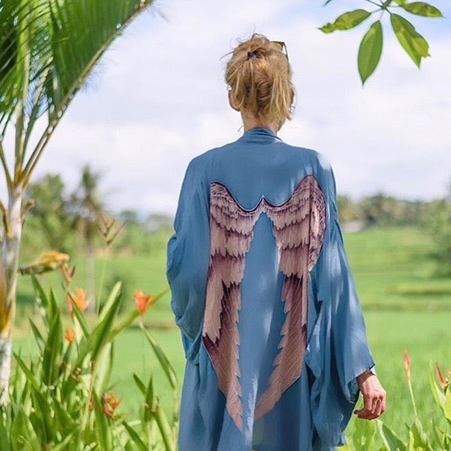 Archangel Angel Wings Kimono - Ice Blue