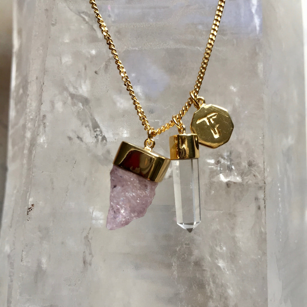 Crystal Powers Charm Necklace - Clear Quartz & Morganite
