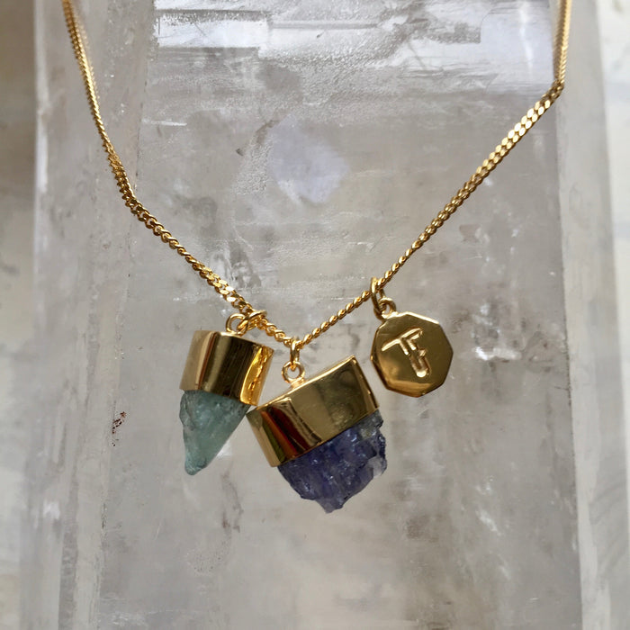 Crystal Powers Charm Necklace - Aquamarine & Iolite