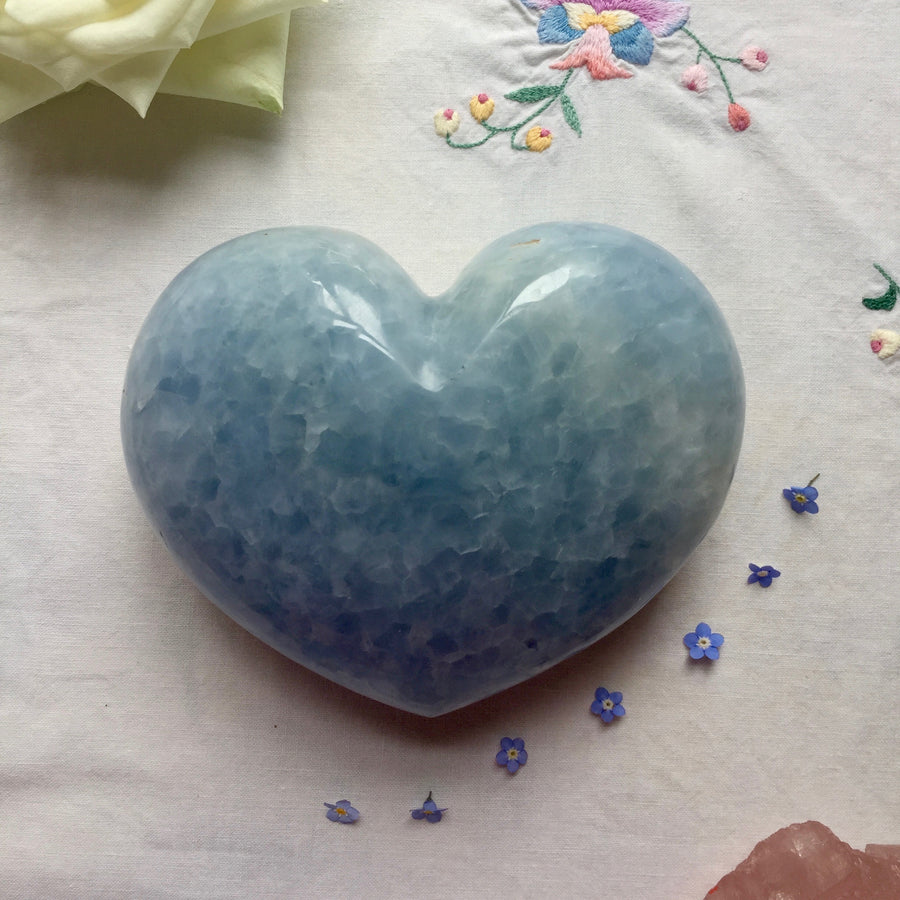 Blue Calcite Love Heart - Large