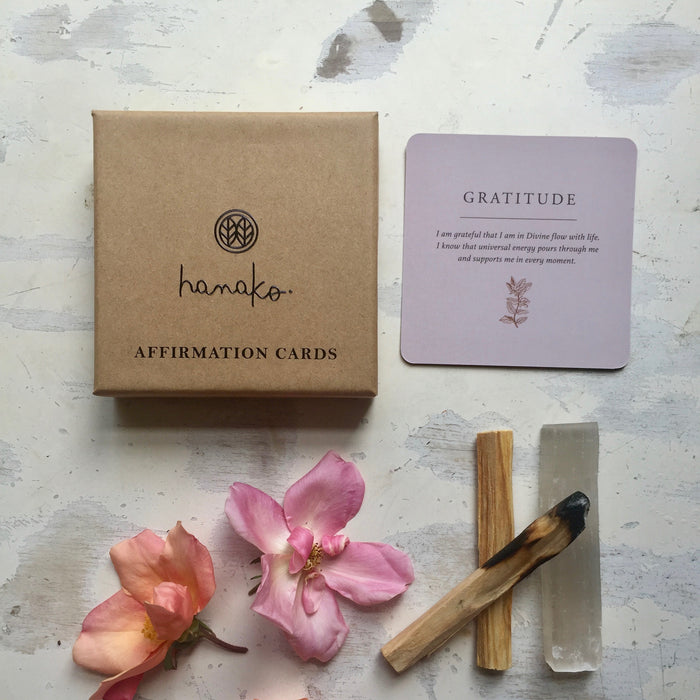Hanako Affirmation Card Deck with Selenite and Palo Santo