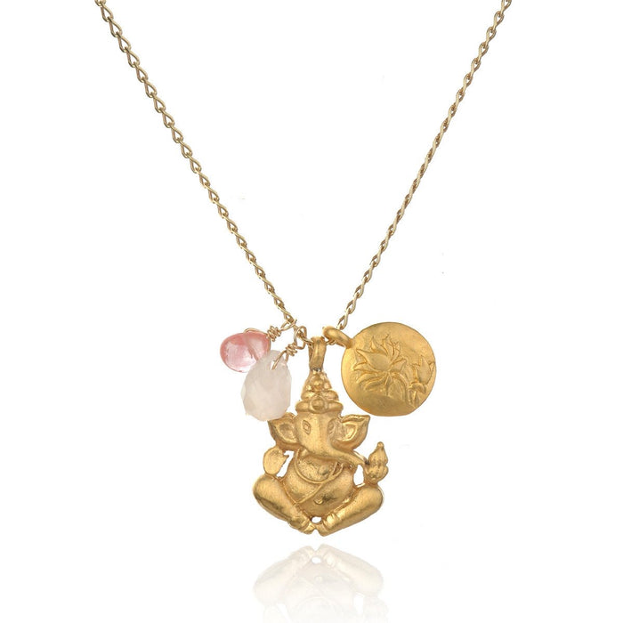 Clear the Path Necklace - Rose and Cherry Quartz Ganesha Lotus.