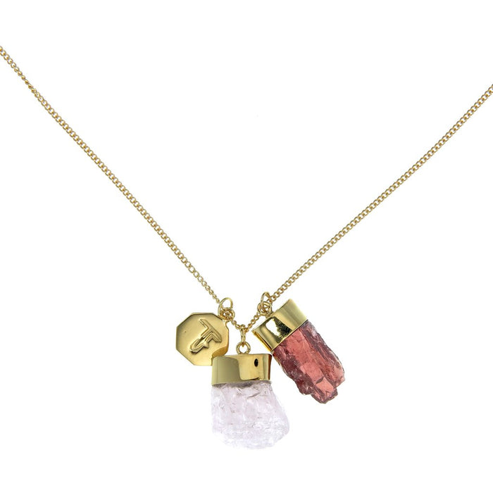 Crystal Powers Charm Necklace - Morganite and Garnet