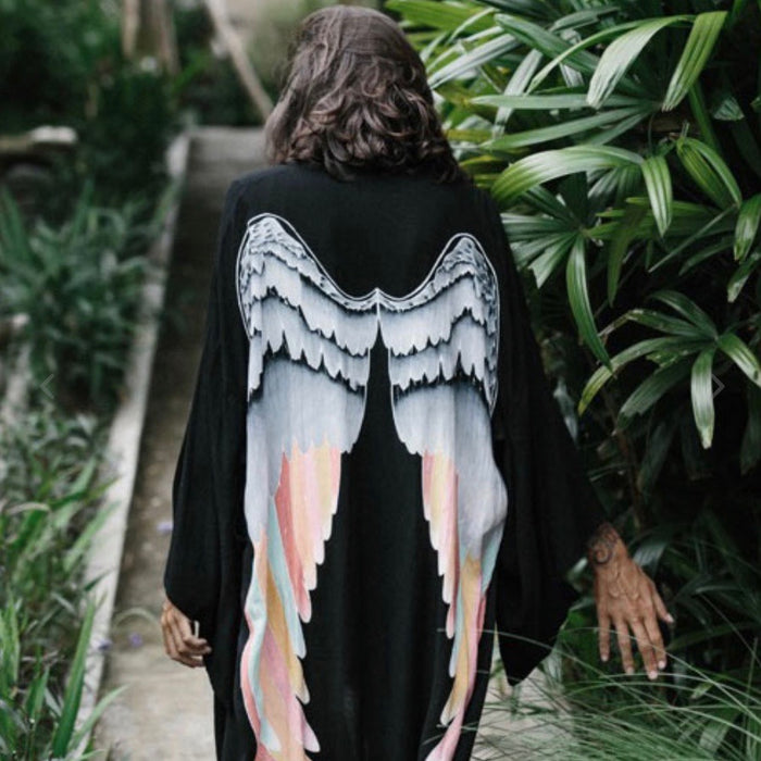 Archangel Angels Wings Kimono - Black with Silver Warrior Wings