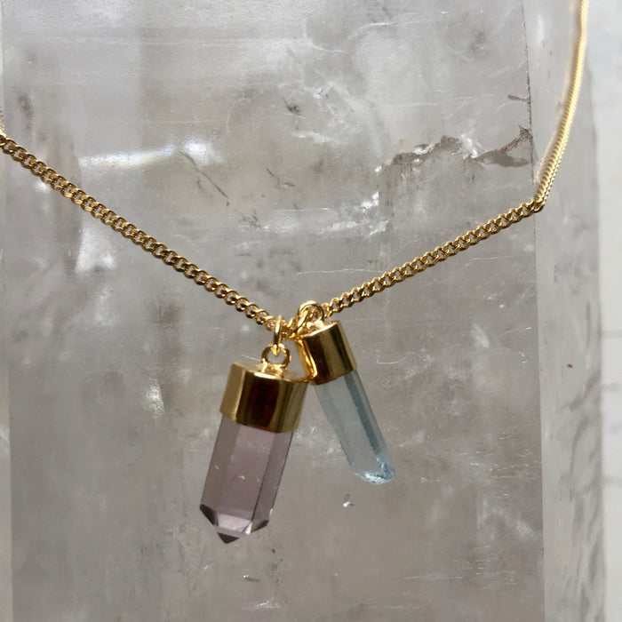 Crystal Powers Charm Necklace - Pale Amethyst & Aquamarine