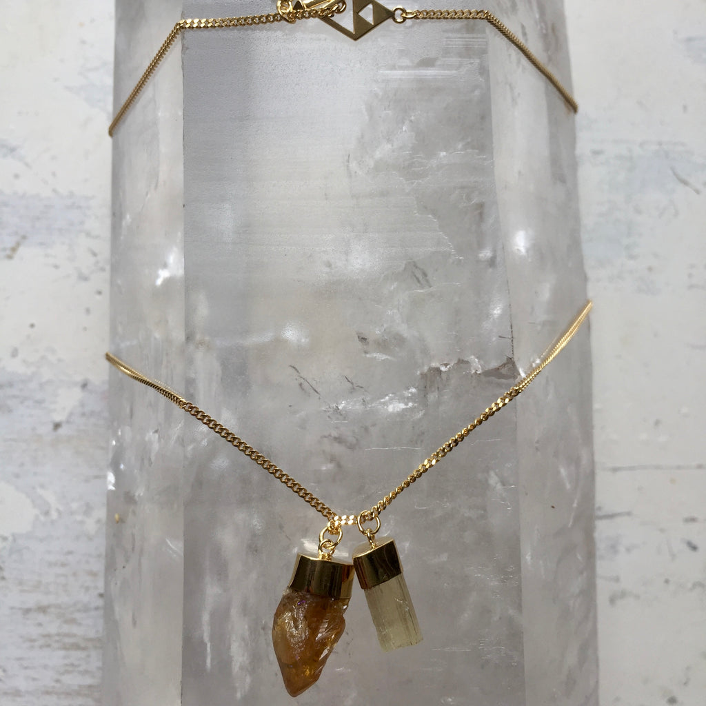 Crystal Powers Charm Necklace - Scapolite & Citrine