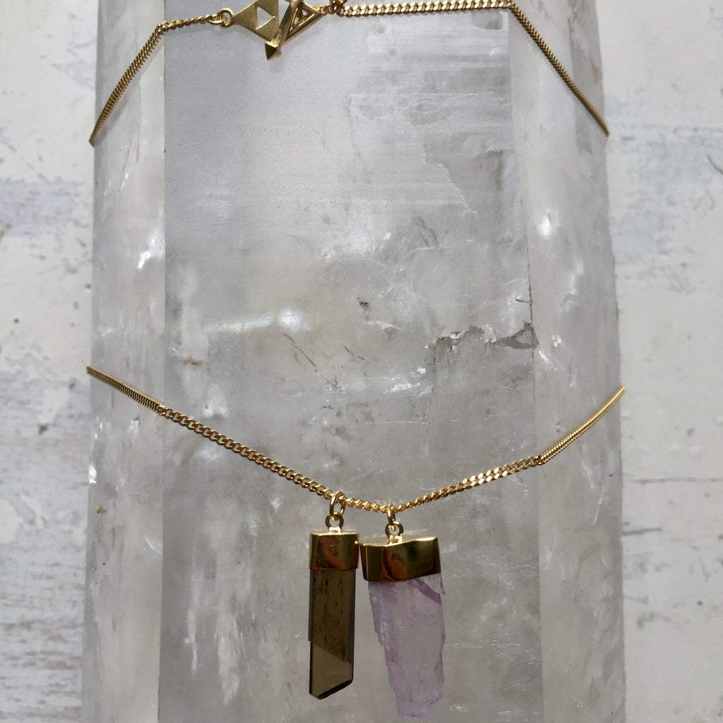 Crystal Powers Charm Necklace - Kunzite & Olive Tourmaline