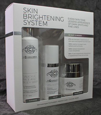 Skin Brightening System includes Vita Soothe Replenishing serum,Vita-C 20 Brightening Cream and Salicylic micro-exfoliating Cleanser