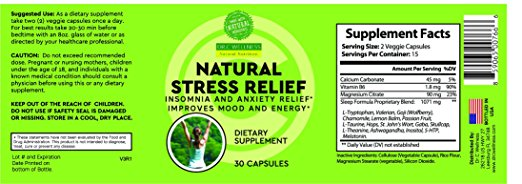 Natural Sleep Aid, Anxiety relief formulation with L-Theanine, St John's  Wart, Rhodiola Extract, Ashwagandha, Chamomile, Passion Flower, 30 -