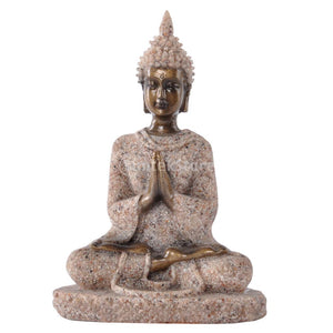 The Hue Sandstone Meditation Buddha Statue Sculpture Hand Carved Figurine #3