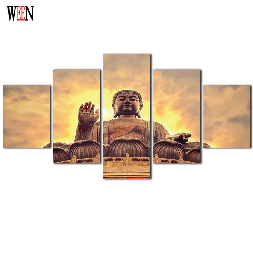 Framed 5Pcs Buddha Meditation Canvas Art Wall Pictures For Living Room HD Print Large Modern Cuadros Decoracion Wall Poster 2017
