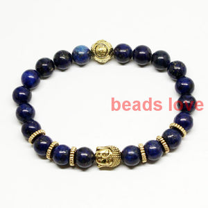 2016 Retail & Wholesale 8mm Natural Lazuli Stone Beads Men's Gold Tone Buddha Energy Meditation Bracelets Party Gift (W03410)