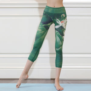 Elastic lotus print yoga pants