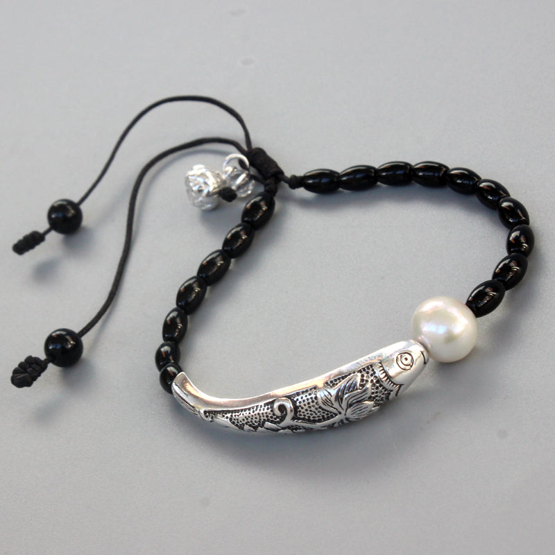 Black Stone Natural Pearl With Silver Luck Fish Charm Bracelet
