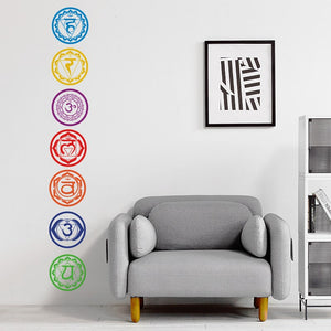 7Pcs/Set Chakras Wall Stickers Mandala Yoga Meditation Symbol PVC Removable Wall Decals Murals Wallpaper Home Wall Decoration
